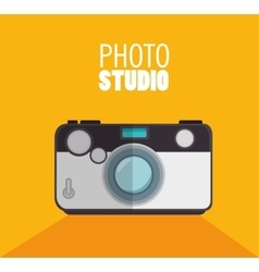 photo studio camera with shadow and yellow vector image vector image