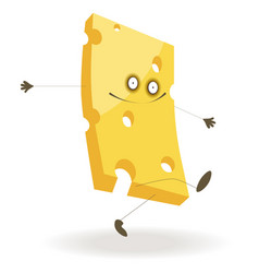 Piece of cheese with funny face and thin limbs vector