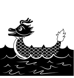 Red dragon boat cartoon chinese in sea vector