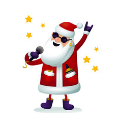 Roc-n-roll santa character singing santa claus - vector
