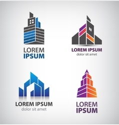 set of building logos towers property vector image vector image