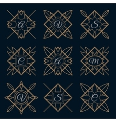 Set of monogram logo template with calligraphic vector image