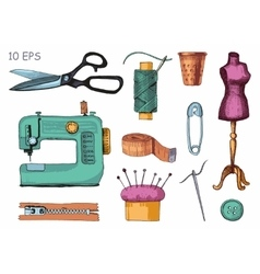 Set of sewing equipment hand drawn vector