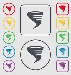 Tornado icon symbols on the round and square vector