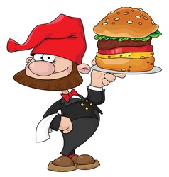 waiter gnome with burger vector image vector image
