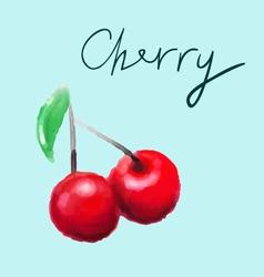 watercolor cherry vector image