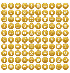 100 men health icons set gold vector