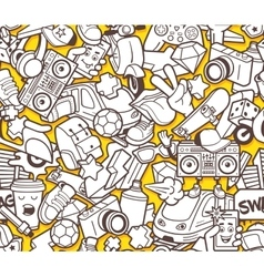 Graffiti seamless pattern for adult coloring book vector image