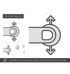 One-finger drag line icon vector