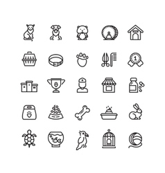 Pet shop animals thin line icons outline vector