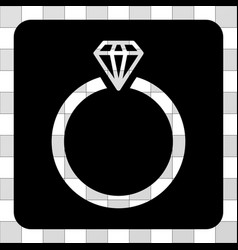 Diamond ring rounded square vector