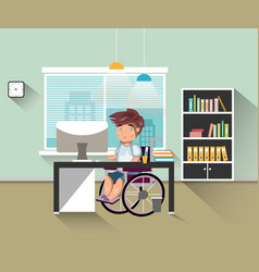 Handicapped man work in office vector