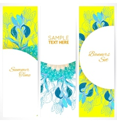 Blue floral ornament banners set vector