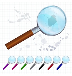 Set of colorful magnifying glasses vector