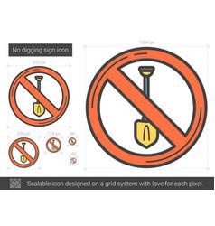 No digging sign line icon vector
