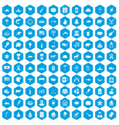 100 north america icons set blue vector