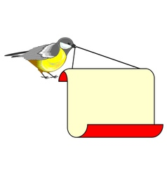 A cute bird titmouse with a big blank paper vector