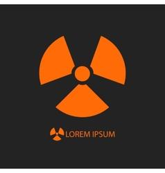 Orange radiation sign on black vector
