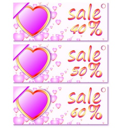 Sales and discounts banners with hearts vector