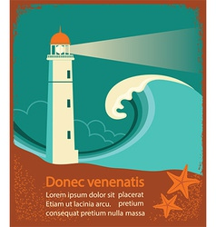 Lighthouse retro poster for text vector