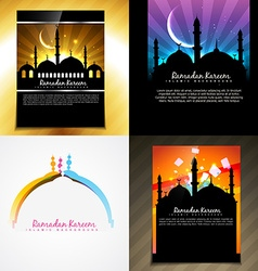 Attractive set of brochure of ramadan festival vector