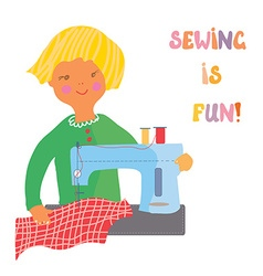 Sewing girl - cute vector