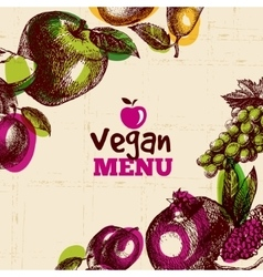 Eco food vegan menu background watercolor and vector