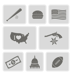Monochrome set with usa icons vector
