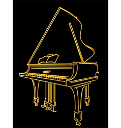 golden piano stylized vector image