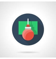 Red xmas decoration ball round flat icon vector