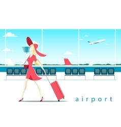 Woman with suitcase at the airport vector