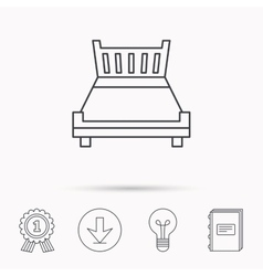 Double bed icon sleep symbol vector