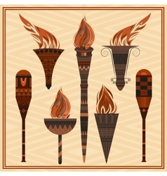 Set ornamental blazing torches elements greek vector
