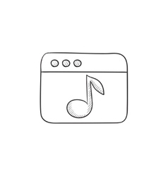 Browser window with music note sketch icon vector