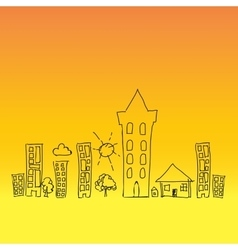 Doodle town draw sun vector