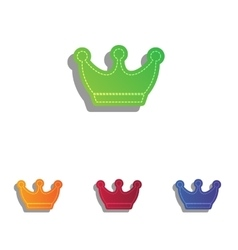 King crown sign colorfull applique icons set vector
