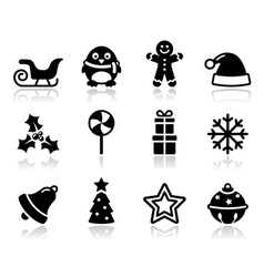 Christmas black icons with shadow set vector