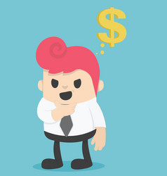 Businessman think about the money vector