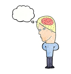 cartoon man with big brain with thought bubble vector image vector image