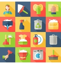 Cleaning icon set isolated with windows dishes vector image