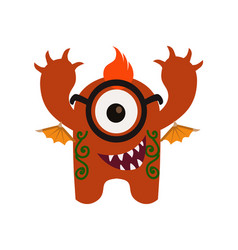 cute and funny monster avatar - animated cartoon vector image vector image