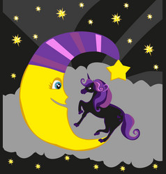 Cute magic unicorn and moon vector