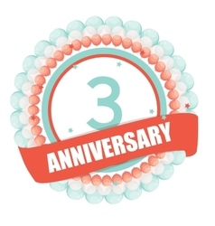 Cute Template 3 Years Anniversary with Balloons vector image vector image