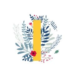 Floral alphabet letter i vector