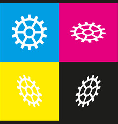 Gear sign white icon with isometric vector
