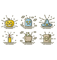 halloween colored icons set linear trendy signs vector image