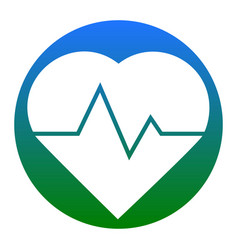 Heartbeat sign white icon in vector