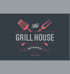 logo of grill house restaurant vector image vector image