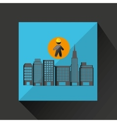 Man silhouette helmet and buildings design graphic vector