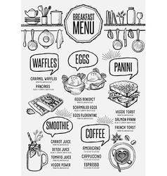 Menu breakfast restaurant food template placemat vector